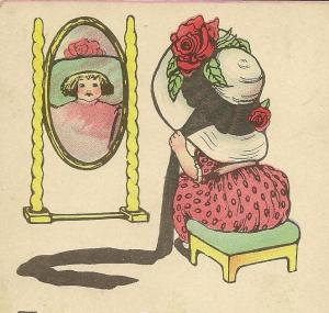 Girl in MIrror Easter Hat crop